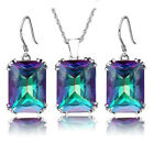 925 Silver Sapphire Emerald Jewellery Set Women Drop Earrings +Pendant Necklace