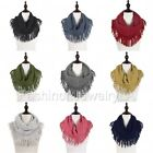 women s two tone knit fringe tube scarf