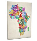 Typography Map of Africa Box Canvas and Poster Print (773)