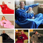 Snuggie Fleece Blanket Sleeves Soft Throw Blanket Home Winter Warm Robe Cloak LB image