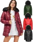 New Ladies Women Detachable Faux Fur Hood Trim Quilted Padded Puffer Coat Jacket