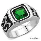 MEN'S 1.95 CT PRINCESS CUT GREEN EMERALD CZ STAINLESS STEEL RING BAND SIZE 8-14