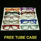 Reading glasses tube hard case one pair power reader lens new women men with in