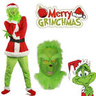 Santa Grinch Costume How the Grinch Stole Christmas Cosplay Suit Outfits Xmas US