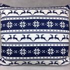 Handmade BLUE REINDEERS SNOWFLAKE 100% Cotton Cushion Cover.Various sizes