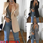 UK Women's Casual Long Sleeve Coat Suit Slim Cardigan Tops Blazer Jacket Outwear