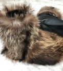 7'' UNISEX RACCOON BEAVER COYOTE FULL FUR SLIPPERS BOOTS SHOES SOCKS LEATHER