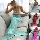 Mermaid Tail Sofa Blanket Super Soft Warm Hand Crocheted Knitting Wrap For Adult image