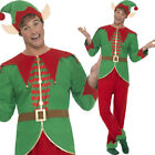 Adults Mens Elf Fancy Dress Costume Christmas Comedy Ears Hat Top Smiffys 46752