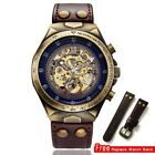 Steampunk Men Watch Automatic Mechanical Skeleton Vintage Self Wind Leather Band image