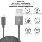 Micro USB Fast Charge Braided Cable 1M 2M 3M Data Charging Charger For Samsung