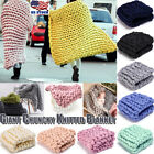Soft Hand Chunky Knitted Merino Wool Blanket Thick Yarn Bulky Throw 100cm*100cm image
