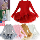 Kids Girls Knitted Sweater Winter Crochet Tutu Dress Princess Party Gown 3-9Y US