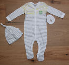 Burt's Bees Baby Boy Footed Coverall & Knot Top Hat Set ~ Gray, White & Yellow ~