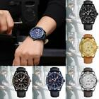 Men's Date Dial Wrist Watch Waterproof Leather Band Analog Quartz Wristwatch