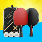 Внешний вид - Pair Carbon Fiber Table Tennis Racket Ping Pong Paddle Bat Short Handle & Case