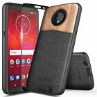 For Moto Z3 / Z3 Play | Rugged Shockproof Wood Canvas Cover Case +Tempered Glass