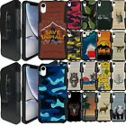 For {Apple iPhone XR] Rugged Dual Layer Holster Combo Case with Kickstand