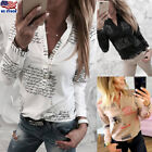 Women Long Sleeve V-neck Blouse Button Letter Print Ladies OL Casual Top T Shirt