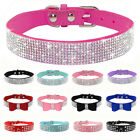 Bling Rhinestone Leather Crystal Diamond Bows Puppy Collar Pet Dog Collars XS-L