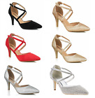 Women Low Mid Kitten Heel Strappy Court Shoes Party Bridal Wedding Shoes D001