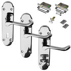 Polished Chrome Richmond Door Lever Handle Fire Rated Set Latch Lock Bathroom