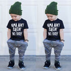 USA Toddler Kids Boy Summer T-shirt Tops+Camo Pants Trousers Outfits Tracksuit