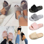 LADIES WOMENS SLIP ON FLUFFY FUR FLAT SLIPPERS SLIDERS FLIP FLOPS SHOES SIZES