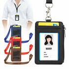 Lanyard ID Badge Holder 2-Sided PU Leather Wallet Case w/ ID Window 4 Card Slots