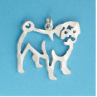 PUG DOG Outline Charm Pendant Jewelry .925 Sterling Silver or Gold Vermeil