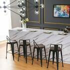 Set of 4 Swivel Bar Stools Counter Height Metal Bar Chairs Low Back Wooden Seat