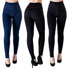 Winter THERMO Leggings Leggins Jeggings Warme Hose Jeans Optik Hoher Bund XS-XL