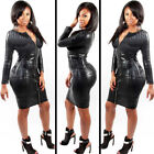 Women PVC Bandage Knee Dress Latex Leather Sexy Party Bodycon Wet Look Clubwear