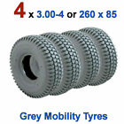 4 x 3.00-4 or 260 x 85 Grey Mobility Scooter Tyres 300x4 Blocked Tread