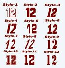 MAROON #12 SPORTS RACING MX CAR NUMBER WINDOW DECAL STICKER (PICK SIZE/FONT)