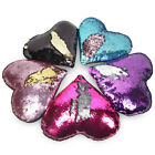 Reversible Mermaid Pillow Cover Magic Sequin Cushion Case Heart Shape Home Decor image