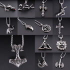 Retro Men Punk 316l Stainless Steel Animal Skull Pendant Necklace Chain Jewelry