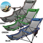 vevor Reclining Folding Chair Sun Lounger Beach Bed Garden Recliner Camping