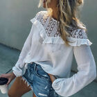 Sexy Women Crop Top Casual Blouse Lace T-Shirt Long Sleeve Tops White S-XL