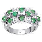 1.55 Ct Round Cut Fine Jewelry 925 Sterling Silver Green Emerald Women Ring #62