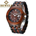 BEWELL Wooden Watch for Men Magnified Date Window Luxury Mens Quartz Watches  image