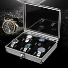 6/10/12 Grids Aluminum Watch Case Glass Display Box Jewellery Storage Organizer