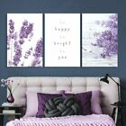wall26 - 3 Panel Purple Lavender Flowers - Canvas Wall Art Home Decor