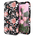 iPhone 6 7 8 Plus X/Xs Max XR Hard Case Rose Flower For Women Girls Cute Cover