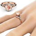 Ladies Rose Gold Zircon Jewellery Gift Wedding Engagement Crystal Ring Size 6-10