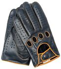 Riparo Womens Reverse Stitched Full-Finger Motorcycle Driving Gloves Blk/Cognac