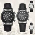 Men Women Stainless Steel Case Watch Leather Band Quartz Couple Wristwatch Black