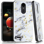 For LG Aristo 2 / Tribute Dynasty - Marble Gold Chrome Flakes Hybrid Case Cover