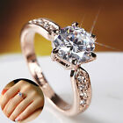 925 Silver Rose Gold Plated Ring Crystal Diamond Zircon Wedding Ring Jewelry