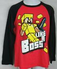 Minecraft Boys Like A Boss T-Shirt Long Sleeve Black Red Officially Licensed